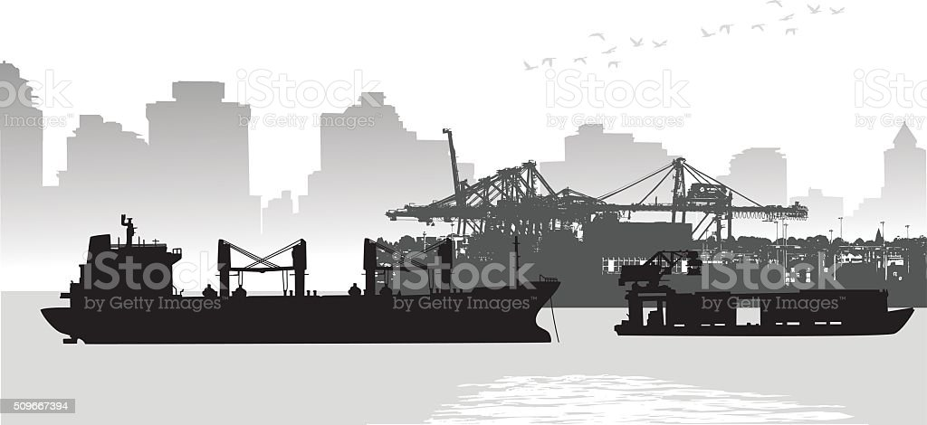 Large City Port Freighter vector art illustration
