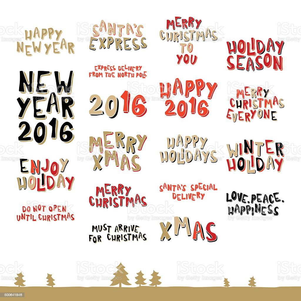 Large collection of Christmas greeting phrases vector art illustration