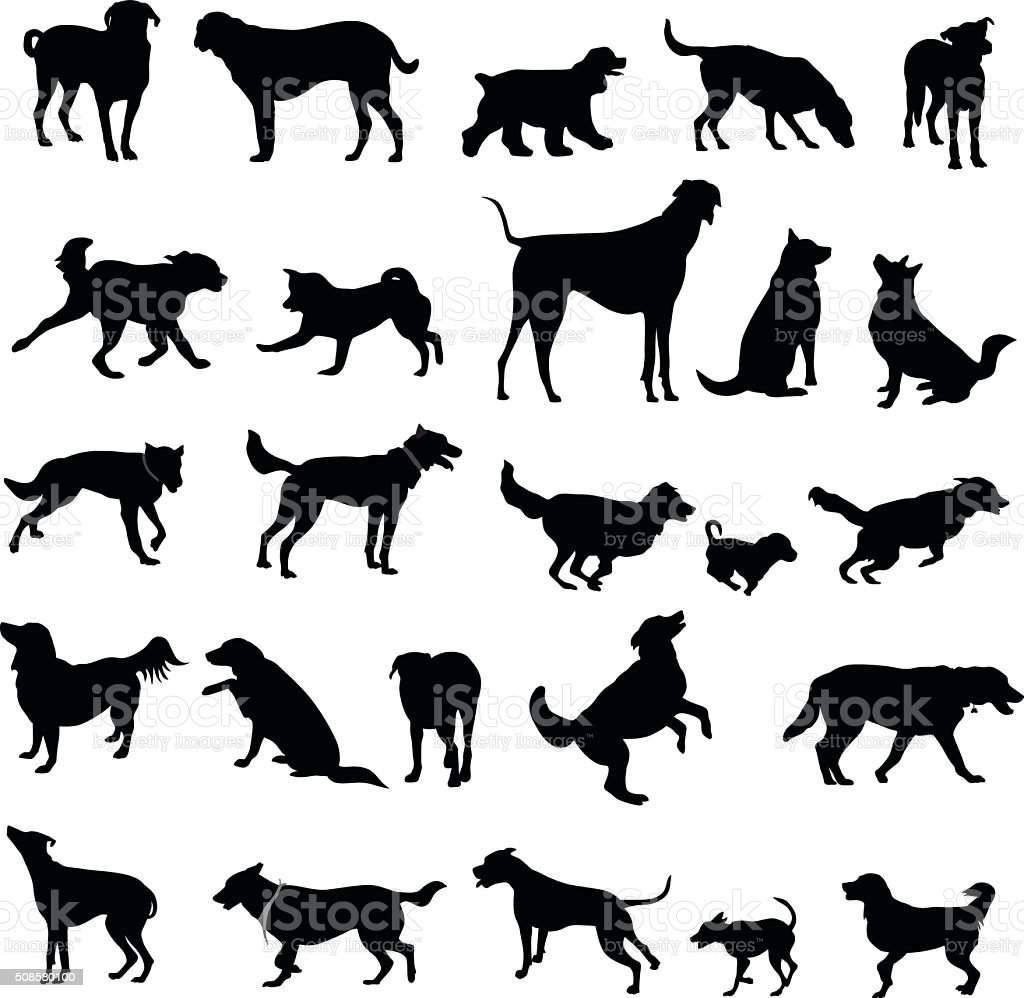 Large Collection Of Dog Silhouettes vector art illustration