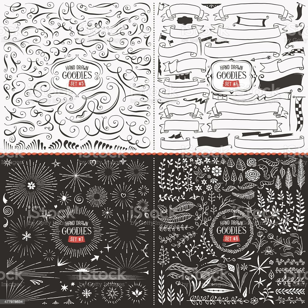 Large Collection of Hand Drawn Vector Design Elements vector art illustration