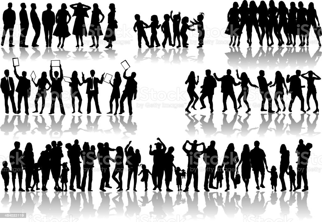 Large collection. Silhouettes of people concept. vector art illustration