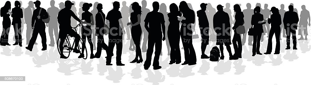 Large College Crowd Of Silhouette Students vector art illustration