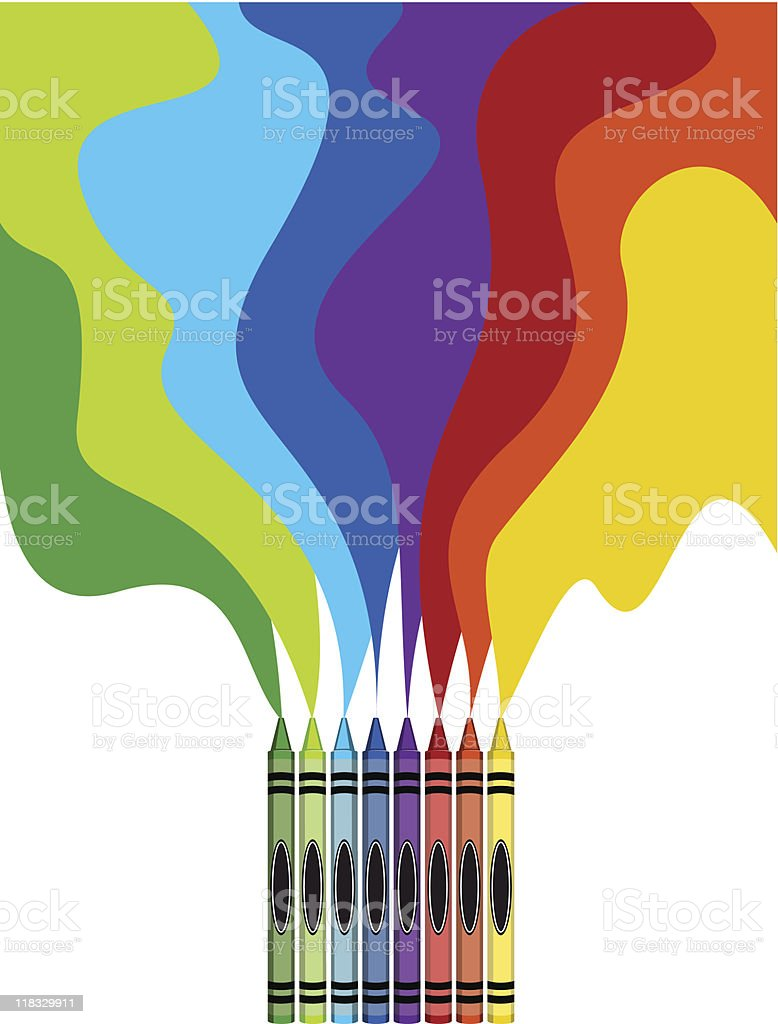 Large colored crayons drawing a rainbow art royalty-free stock vector art