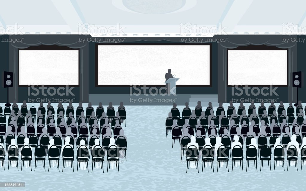 Large conference room with speaker and three screens royalty-free stock vector art