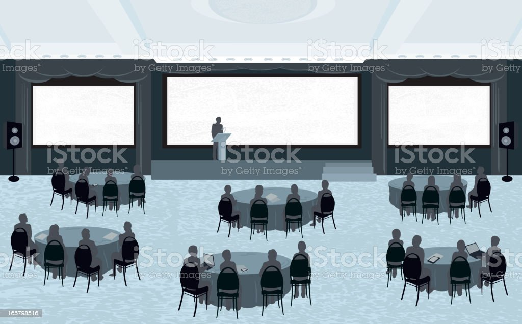 Large conference with three screens vector art illustration