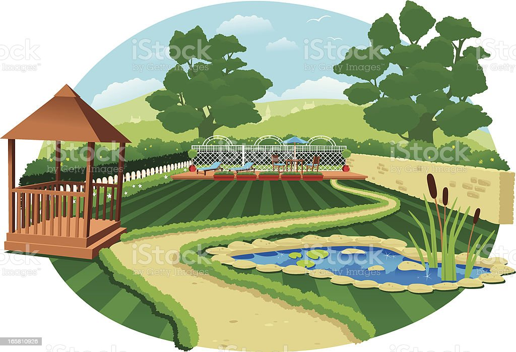 Large country garden with pond and gazebo vector art illustration