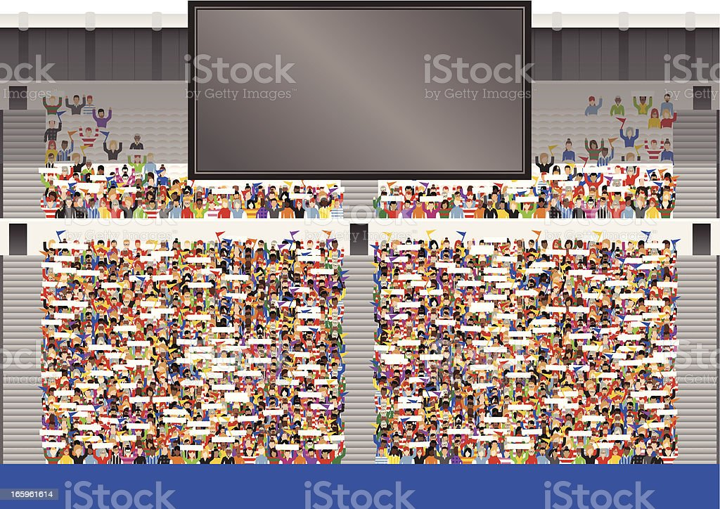 Large crowd in stadium grandstand vector art illustration