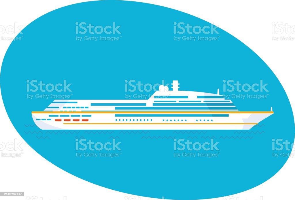 A large cruise passenger liner on a white background vector art illustration