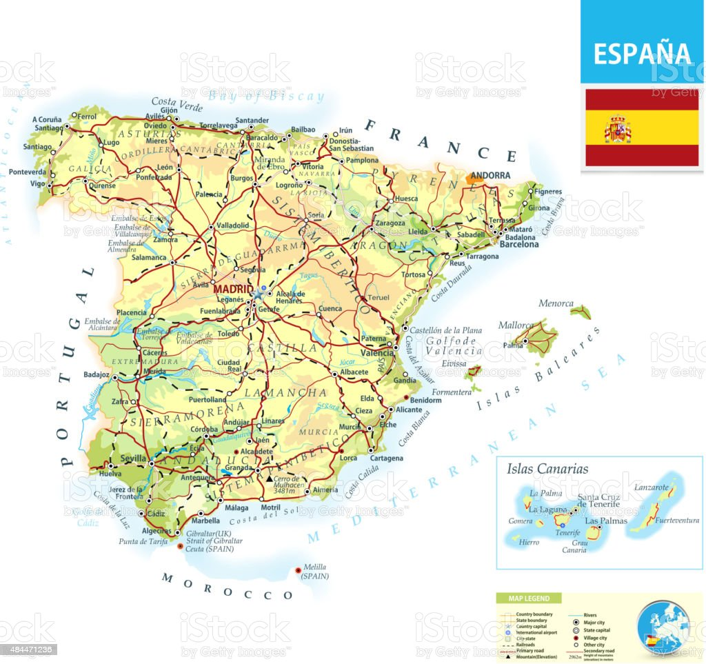 Large detailed physical map of Spain vector art illustration