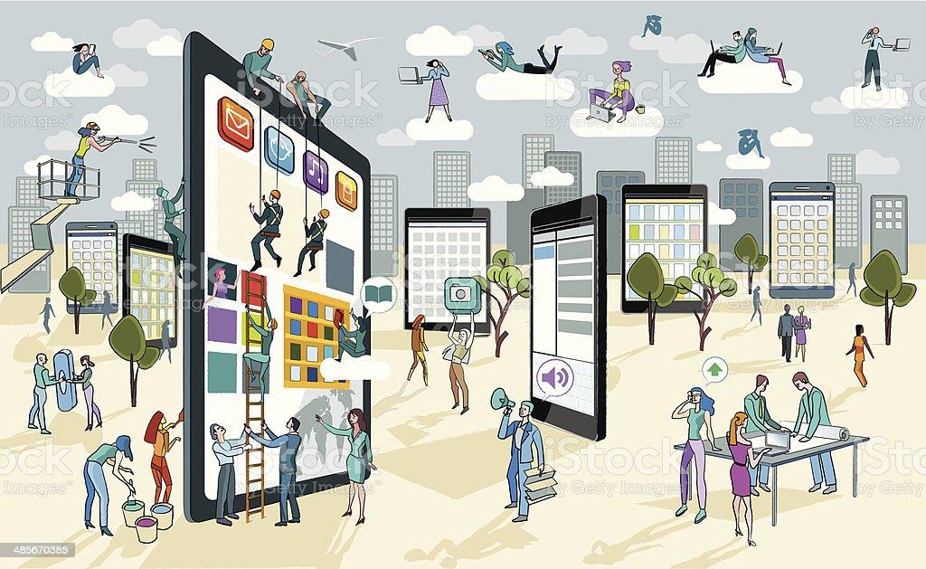 Large Digital Tablet vector art illustration
