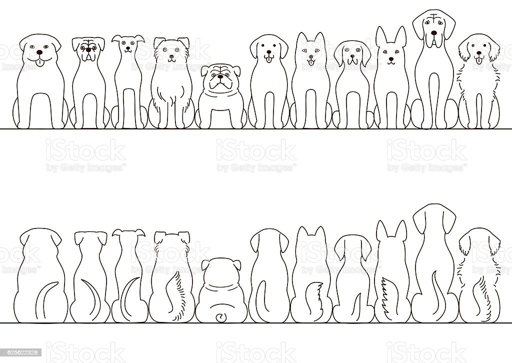 large dogs border set, front view and back view, line art vector art illustration