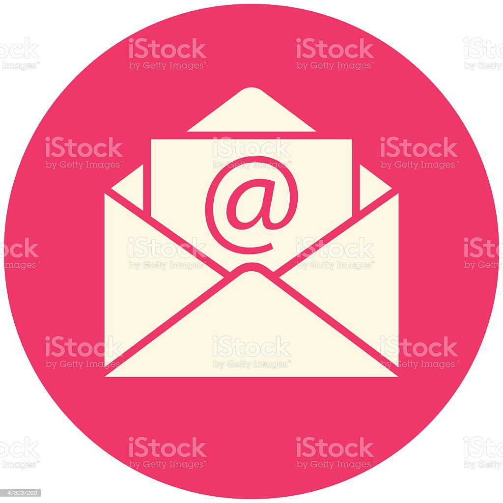 A large email icon within a large pink circle vector art illustration