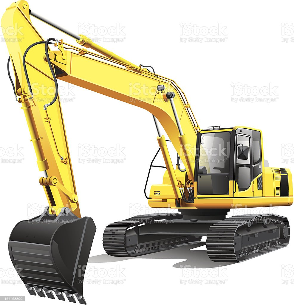 large excavator vector art illustration