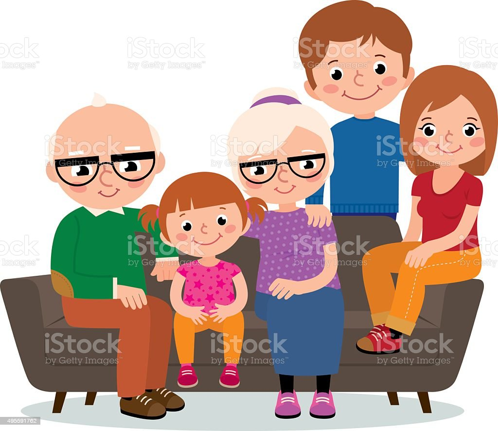 Large family group grandparents, parents and a child vector art illustration