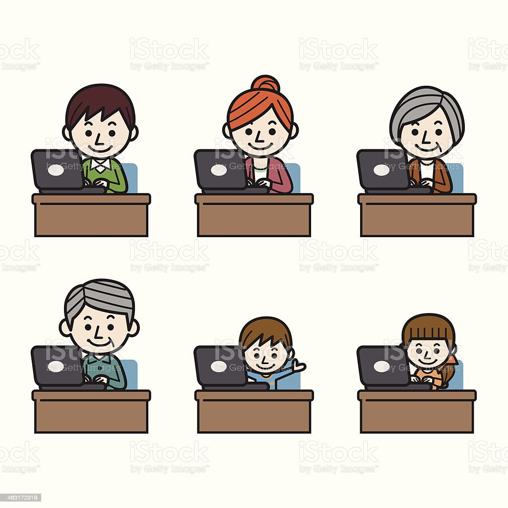 Large family with laptop vector art illustration