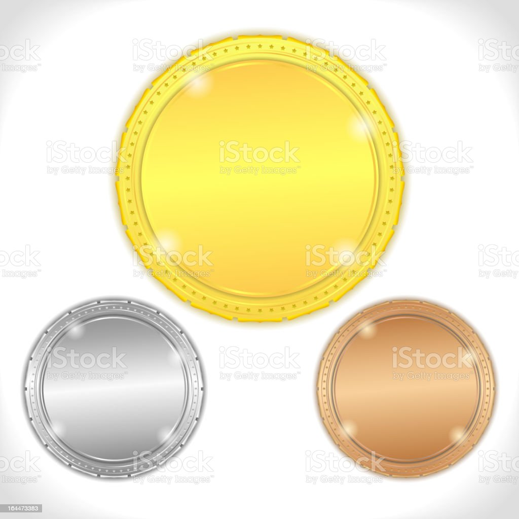 Large Gold silver and bronze medals royalty-free stock vector art