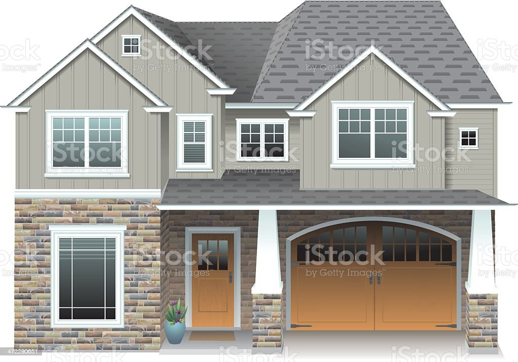 Large Gray House royalty-free stock vector art