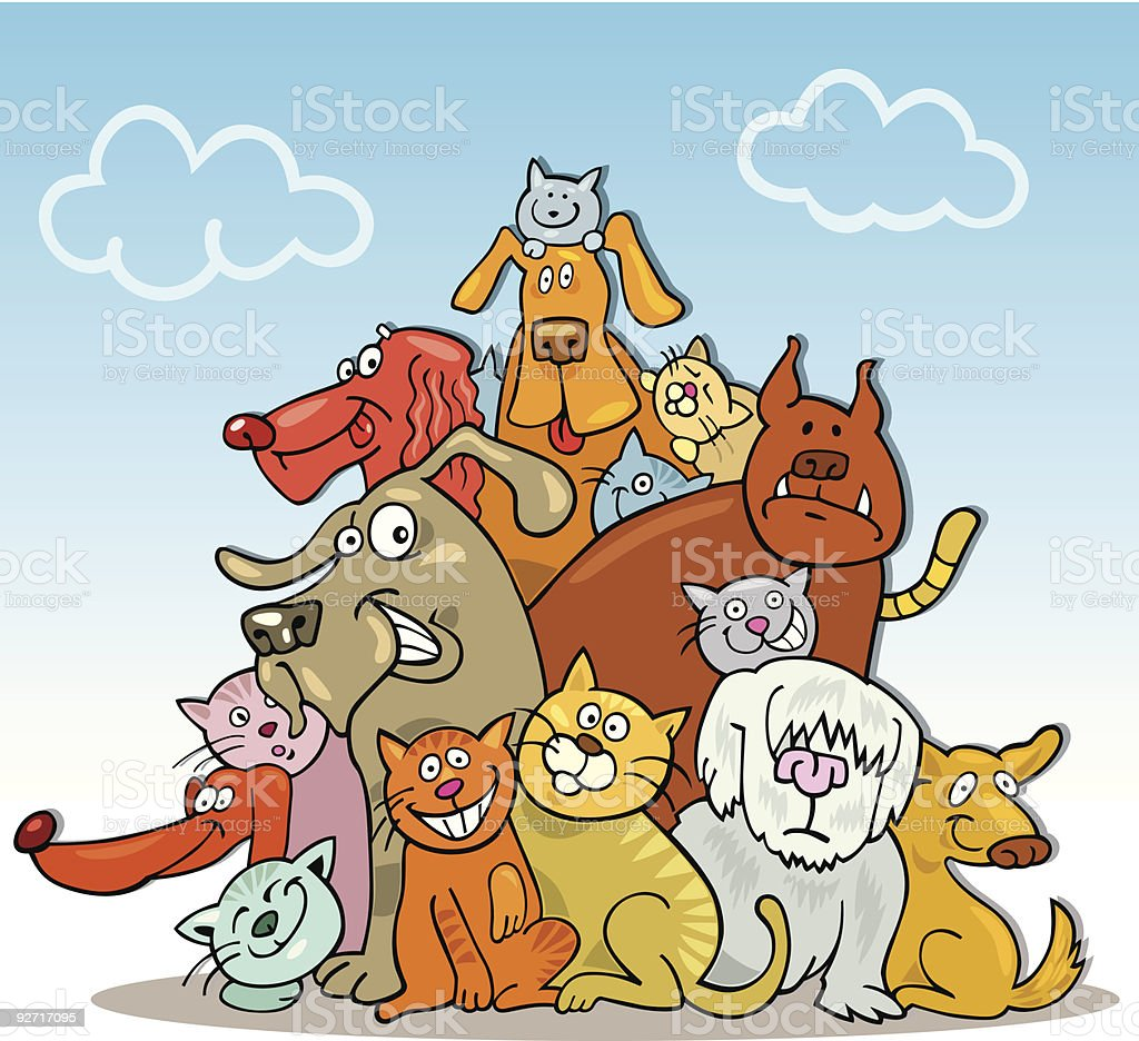 large group of funny cats and dogs royalty-free stock vector art