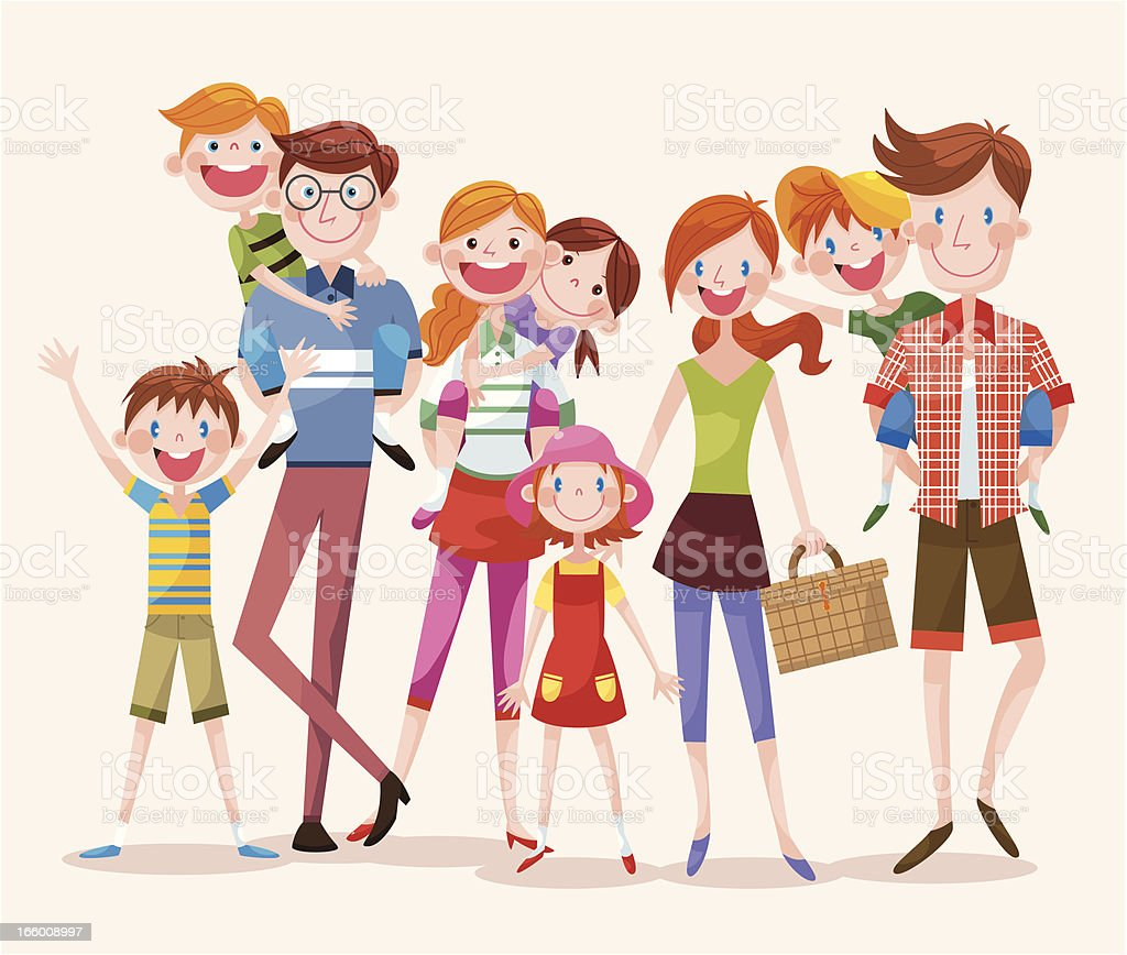 Large Group of Happy People royalty-free stock vector art