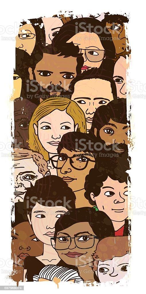 Large Group of People Illustration vector art illustration