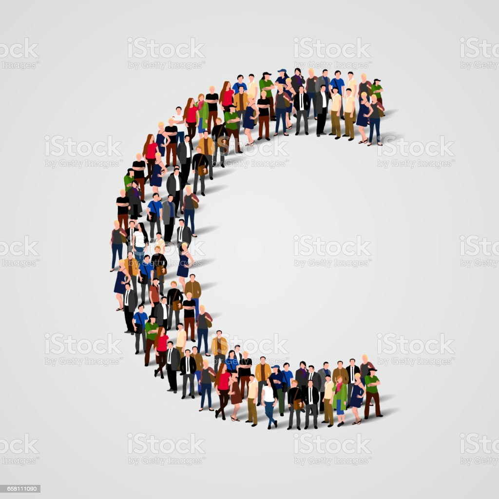 Large group of people in letter C form vector art illustration