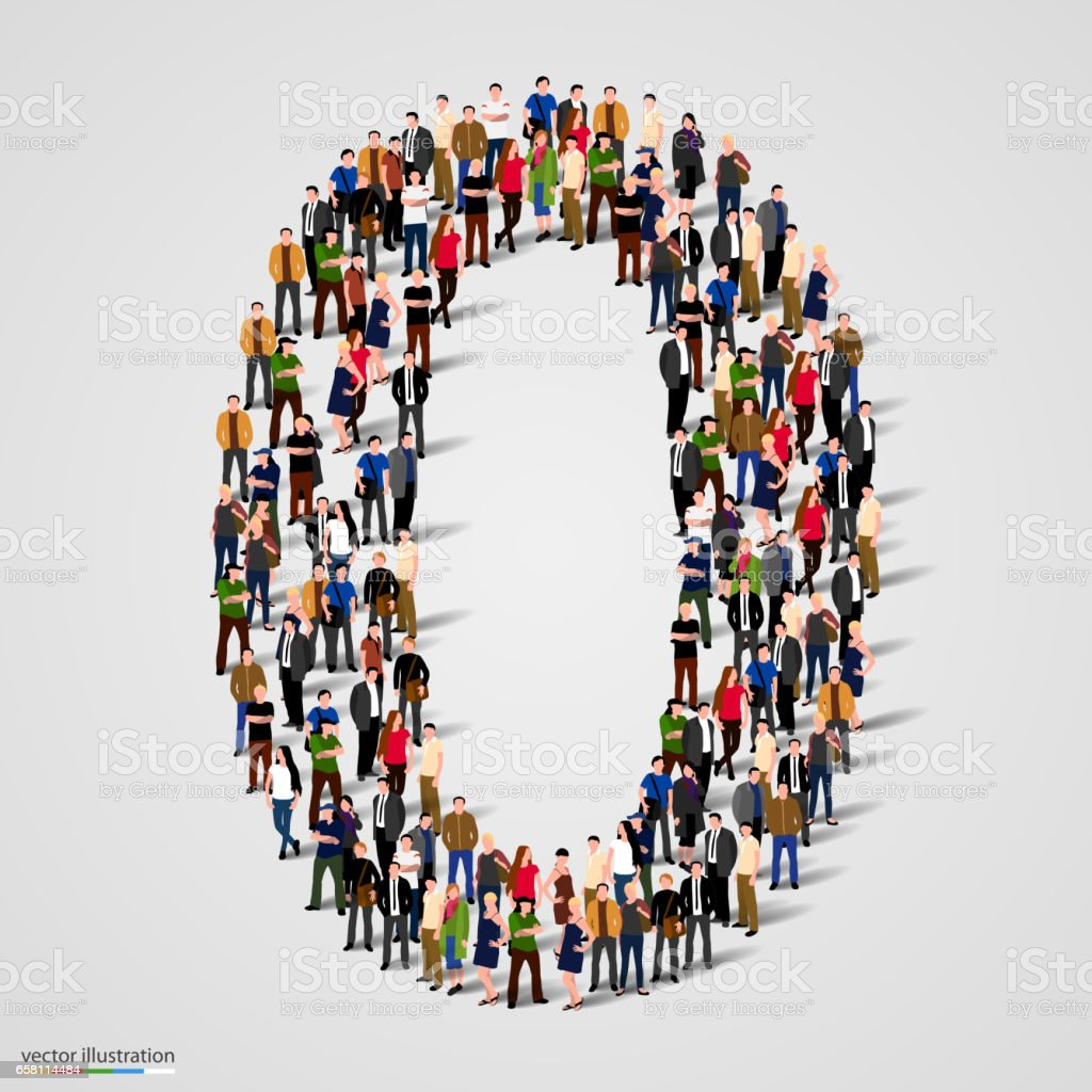 Large group of people in number 0 zero form vector art illustration