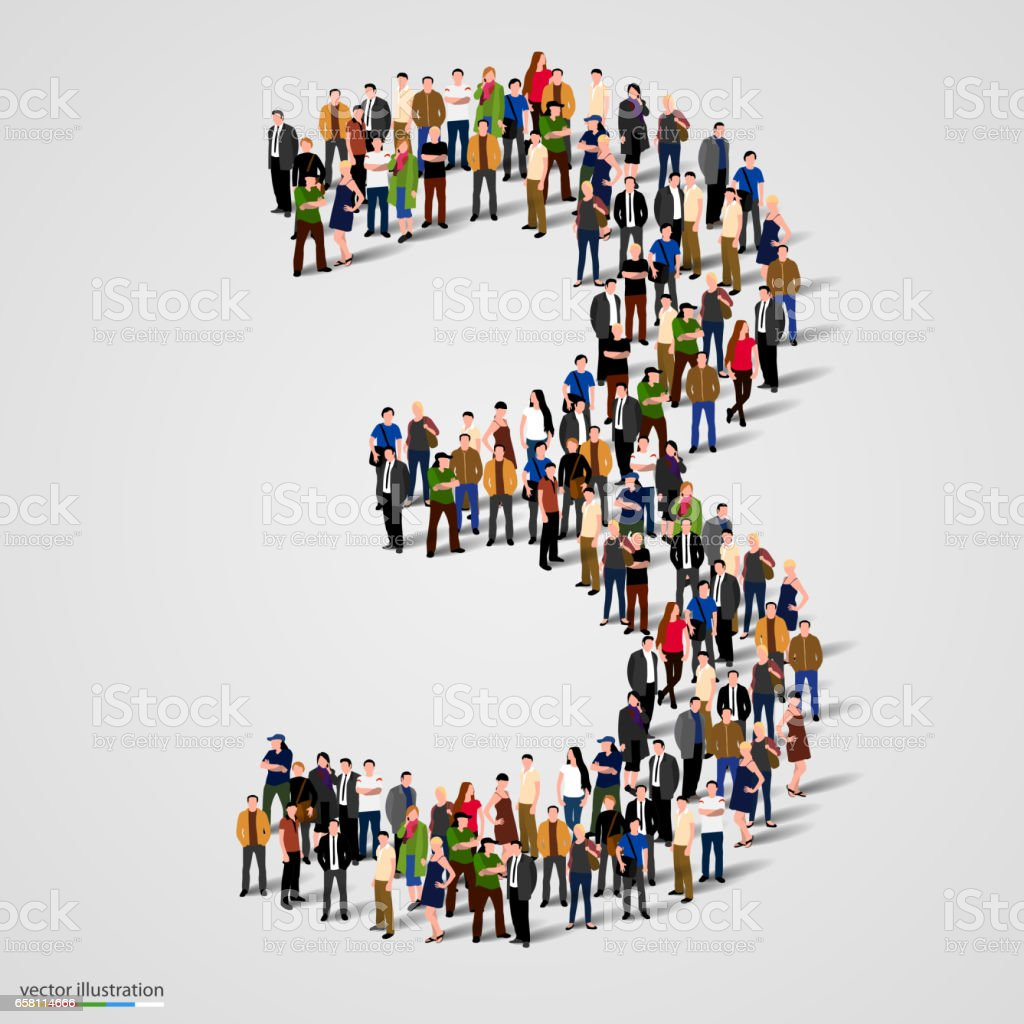 Large group of people in number 3 three form vector art illustration