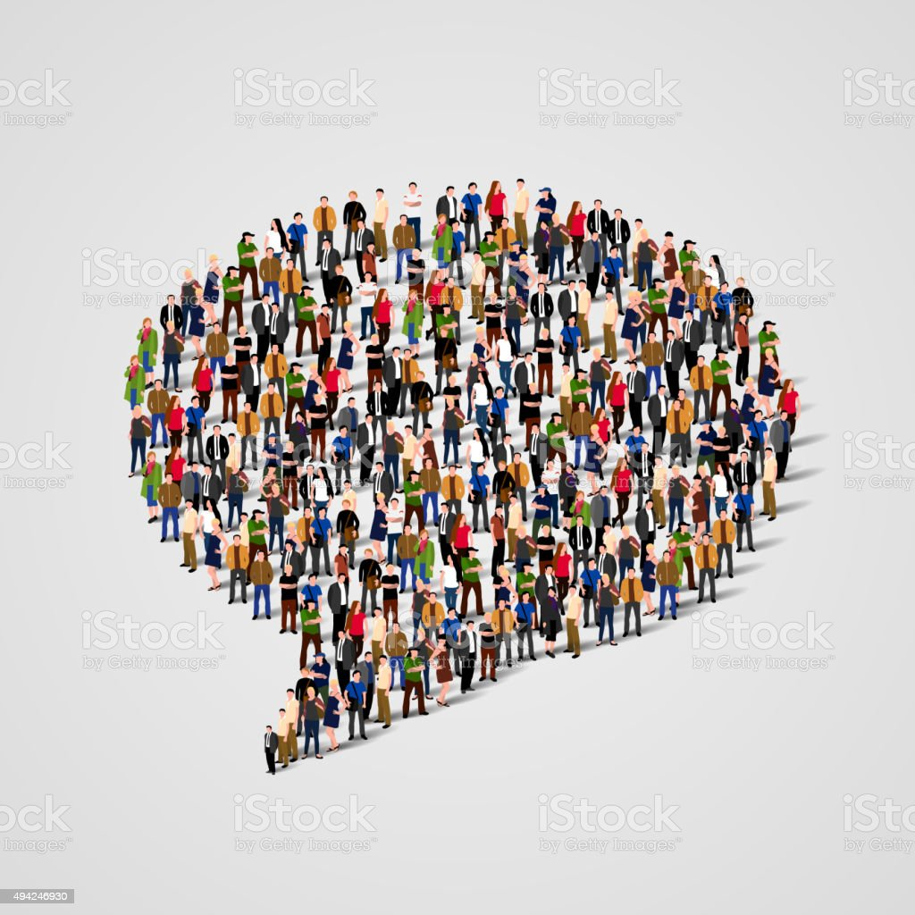 Large group of people in the chat bubble shape. Vector vector art illustration