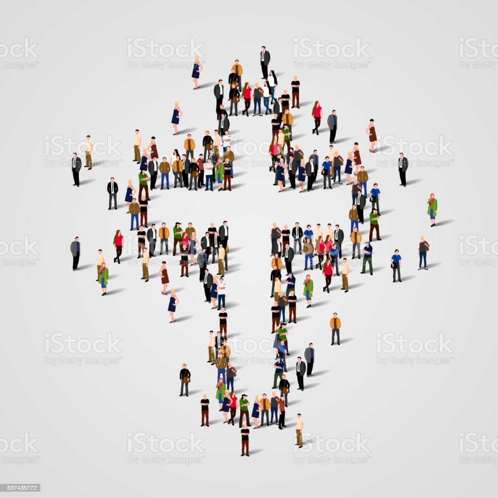 Large group of people in the cross shape. vector art illustration