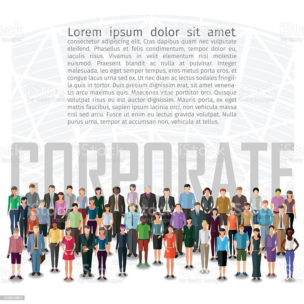 large group of people vector art illustration