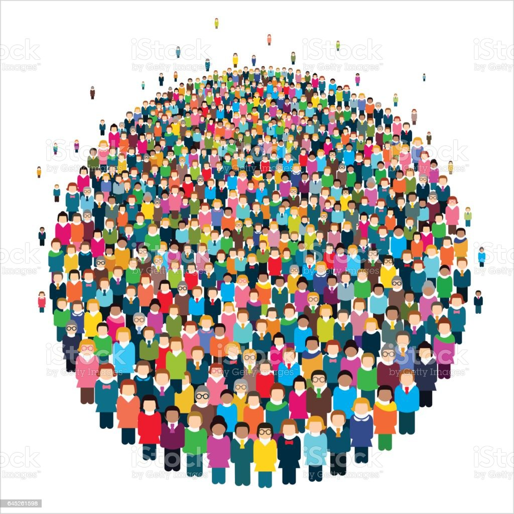 Large group of stylized people in the shape of a circle. vector art illustration