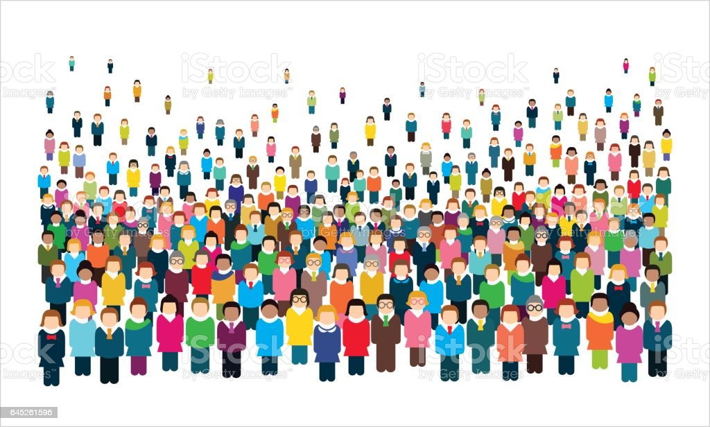 Large group of stylized people. vector art illustration
