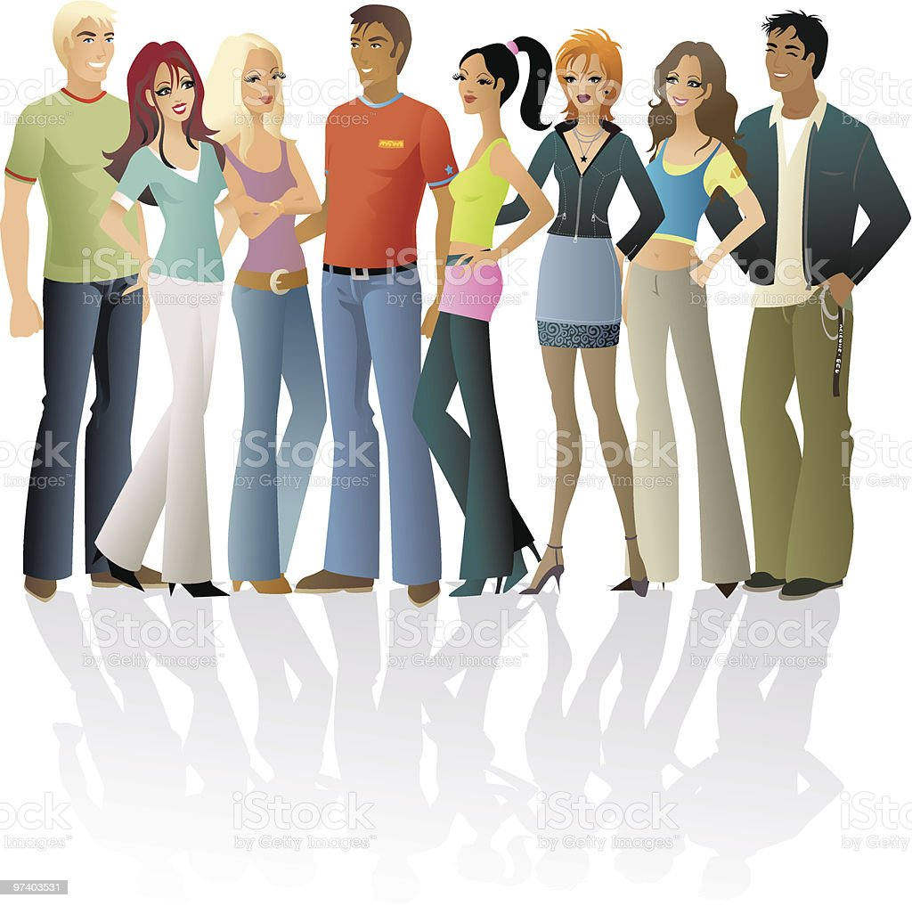 Large group of young people vector art illustration