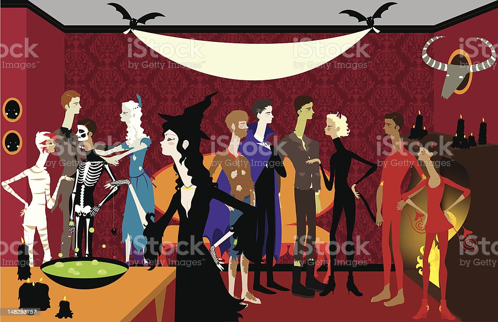 Large Halloween Party with Banner royalty-free stock vector art