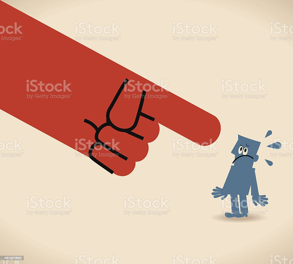 Large hand pointing at man vector art illustration