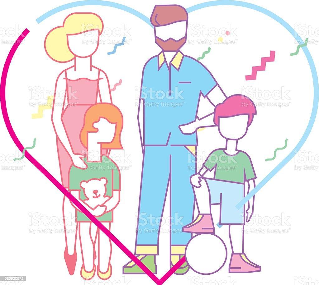 Large happy family vector art illustration