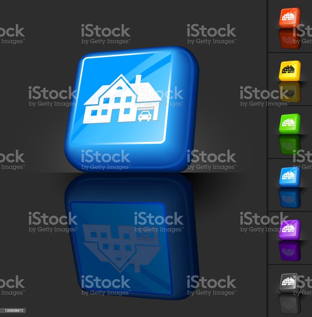 Large house blue 3D button design royalty-free stock vector art