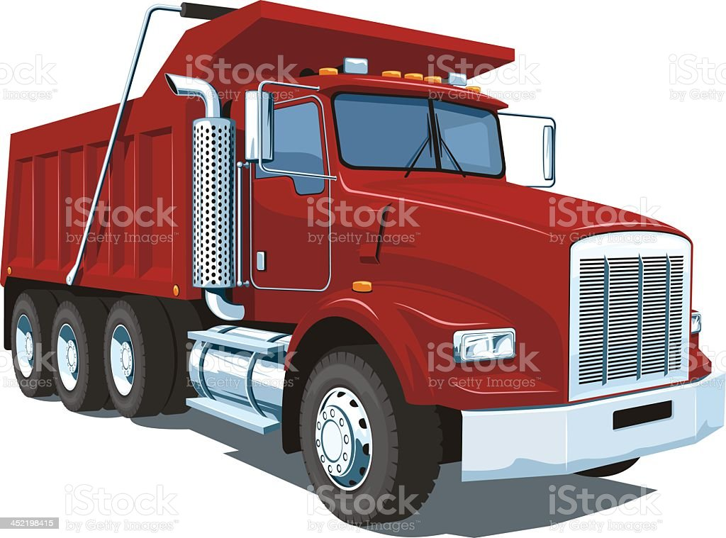 A large image of a red dump truck on a white background vector art illustration