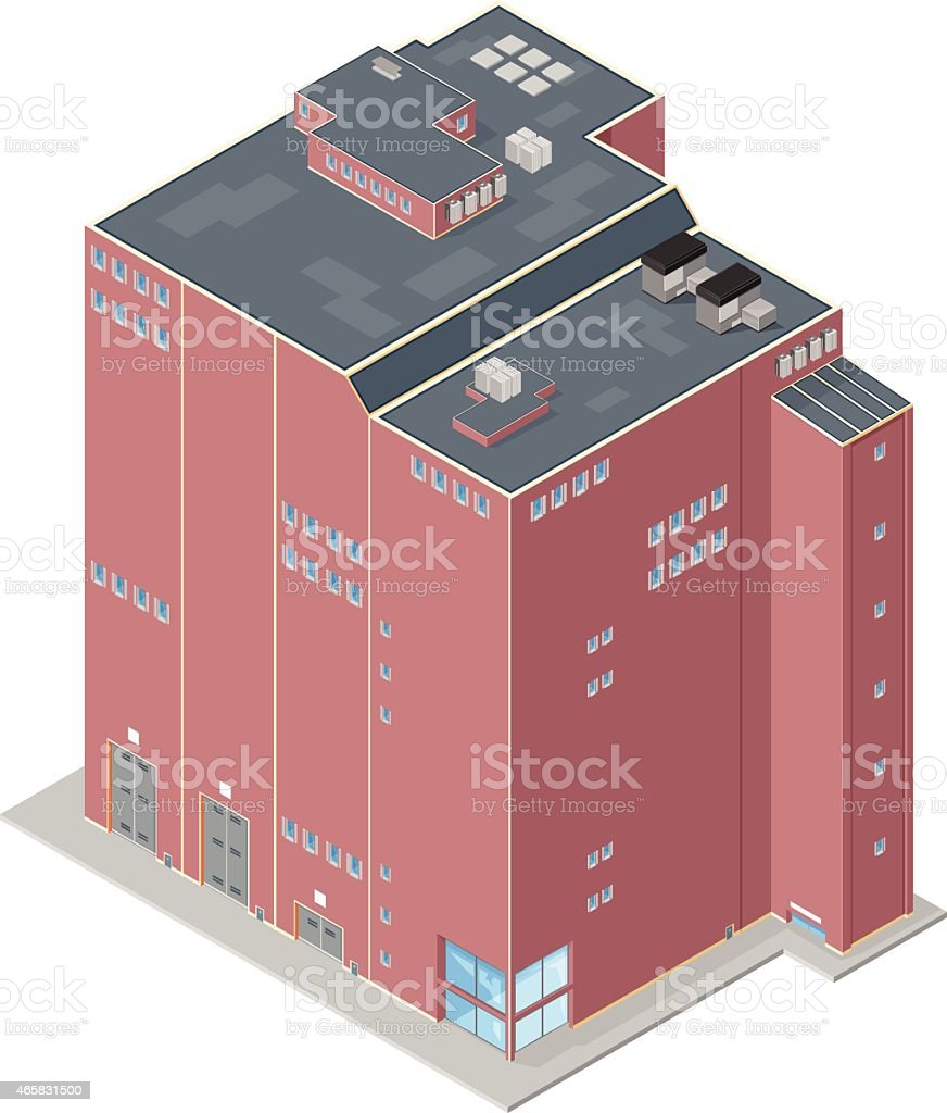 large industrial factory building. vector art illustration