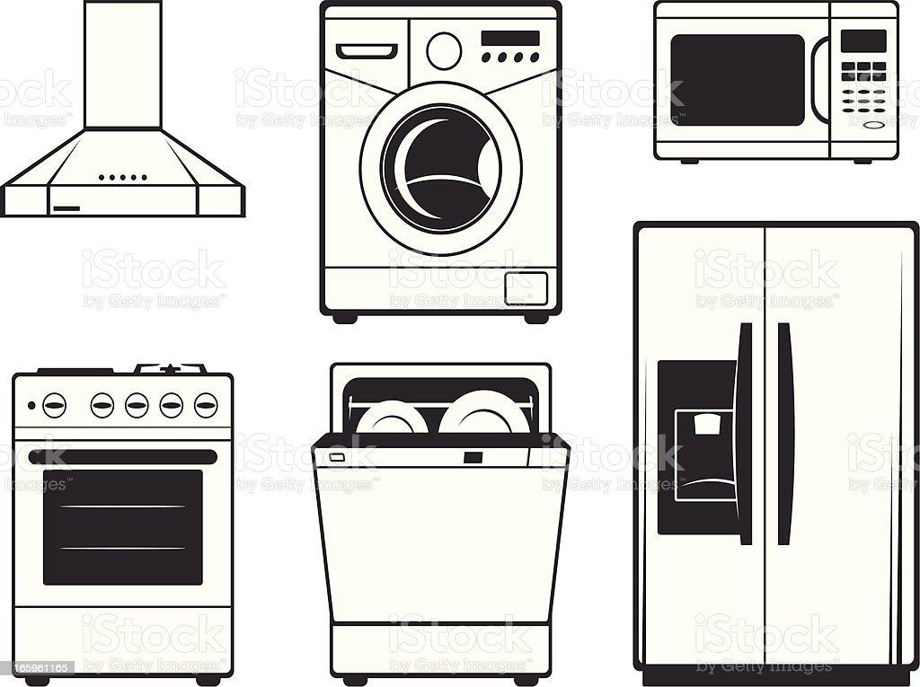 Large kitchen technics vector art illustration