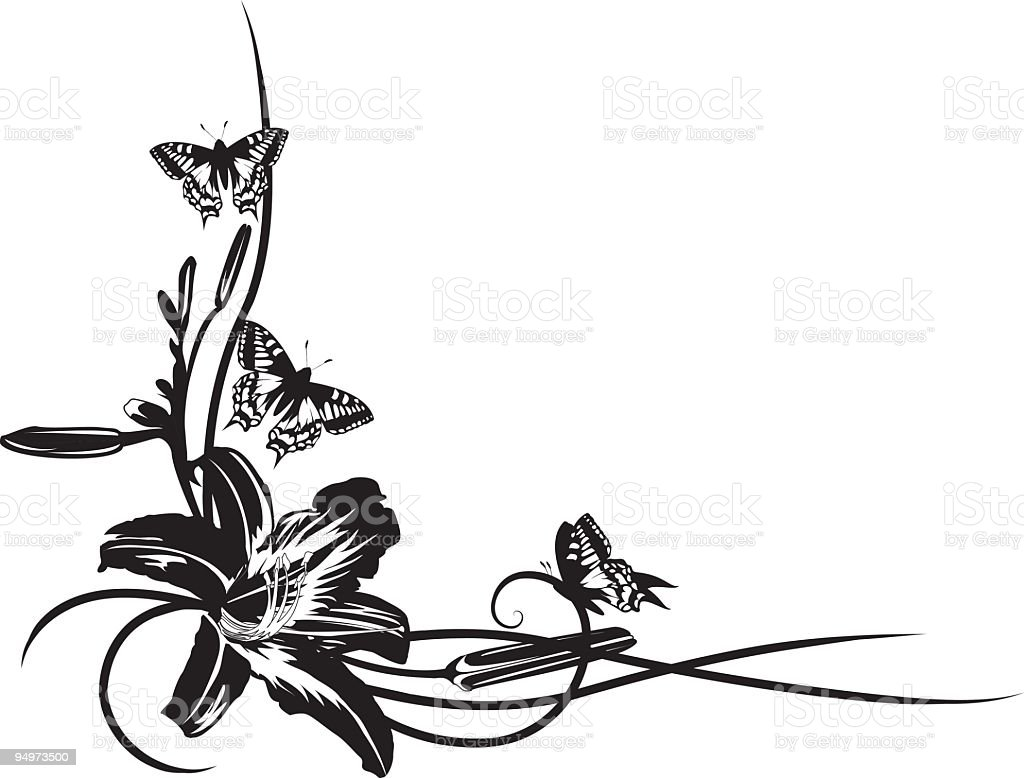 Large Lily Flower with Butterflies Black and White Corner Element royalty-free stock vector art