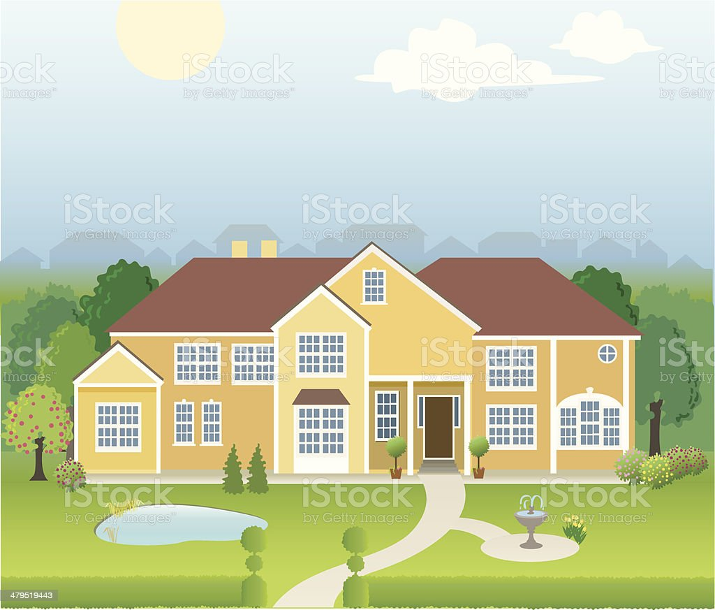 Large Mansion Home with Pond, Fountain and Many Trees royalty-free stock vector art