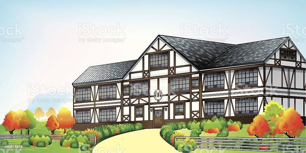 Large mansion in English style vector art illustration