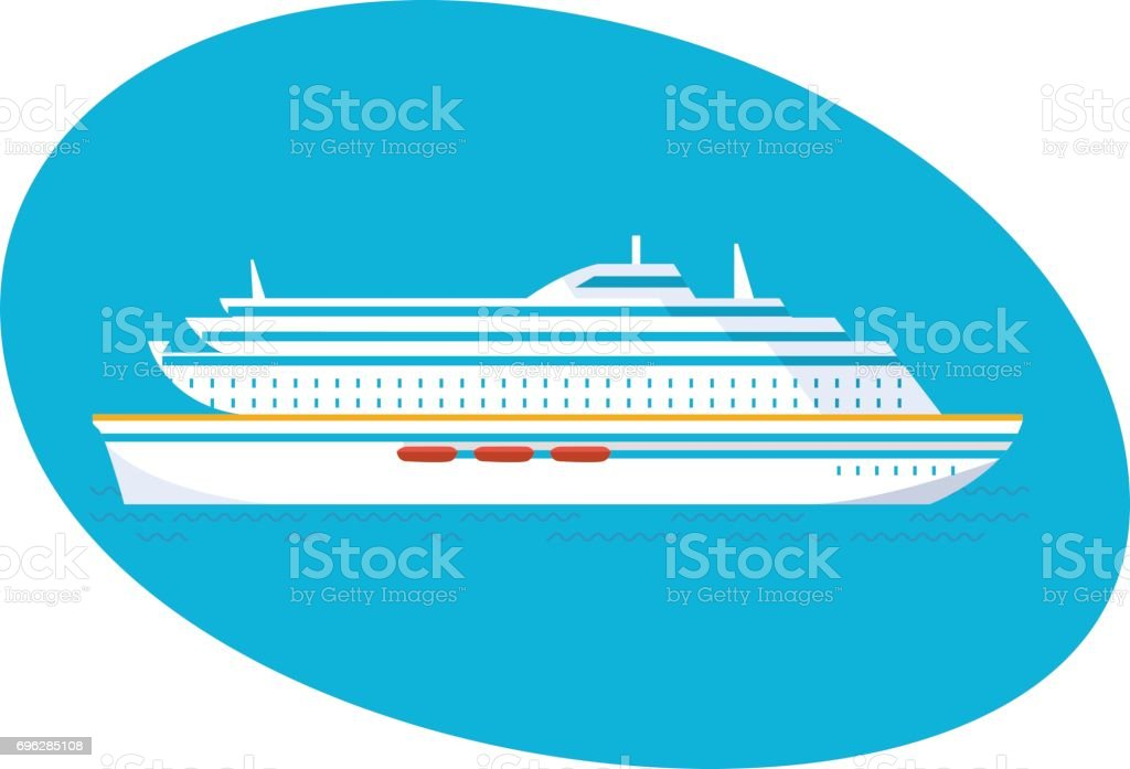 A large multi-storey cruise passenger liner on a white background vector art illustration