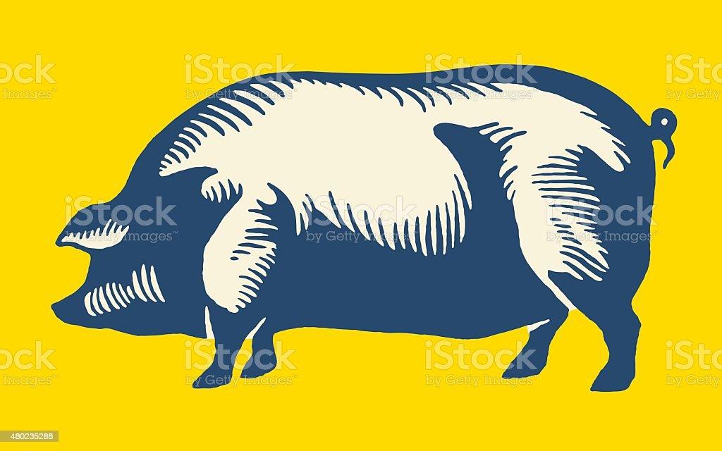 Large Pig vector art illustration