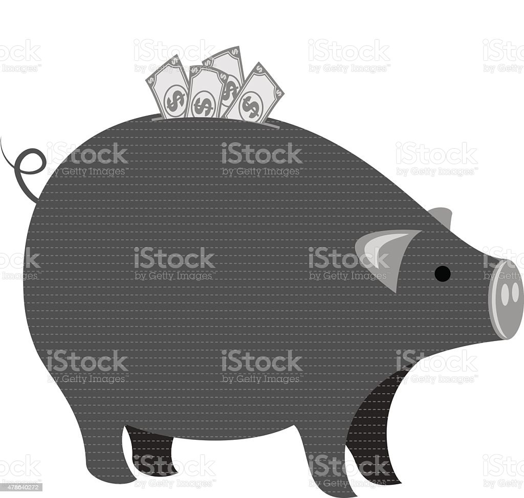 Large Piggybank with Dollar Bills Sticking out Done in Grayscale vector art illustration