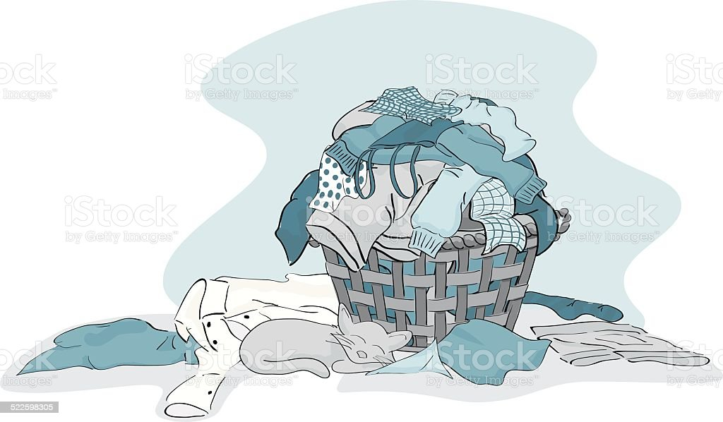 Large Pile of Laundry clothing ready cleaned in Blue vector art illustration