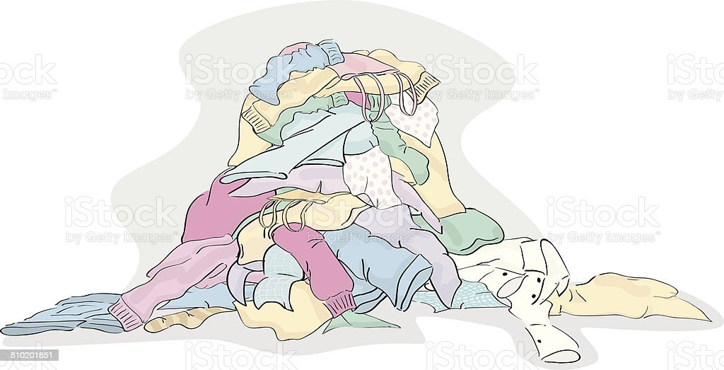 Large Pile of Laundry clothing ready to be cleaned vector art illustration