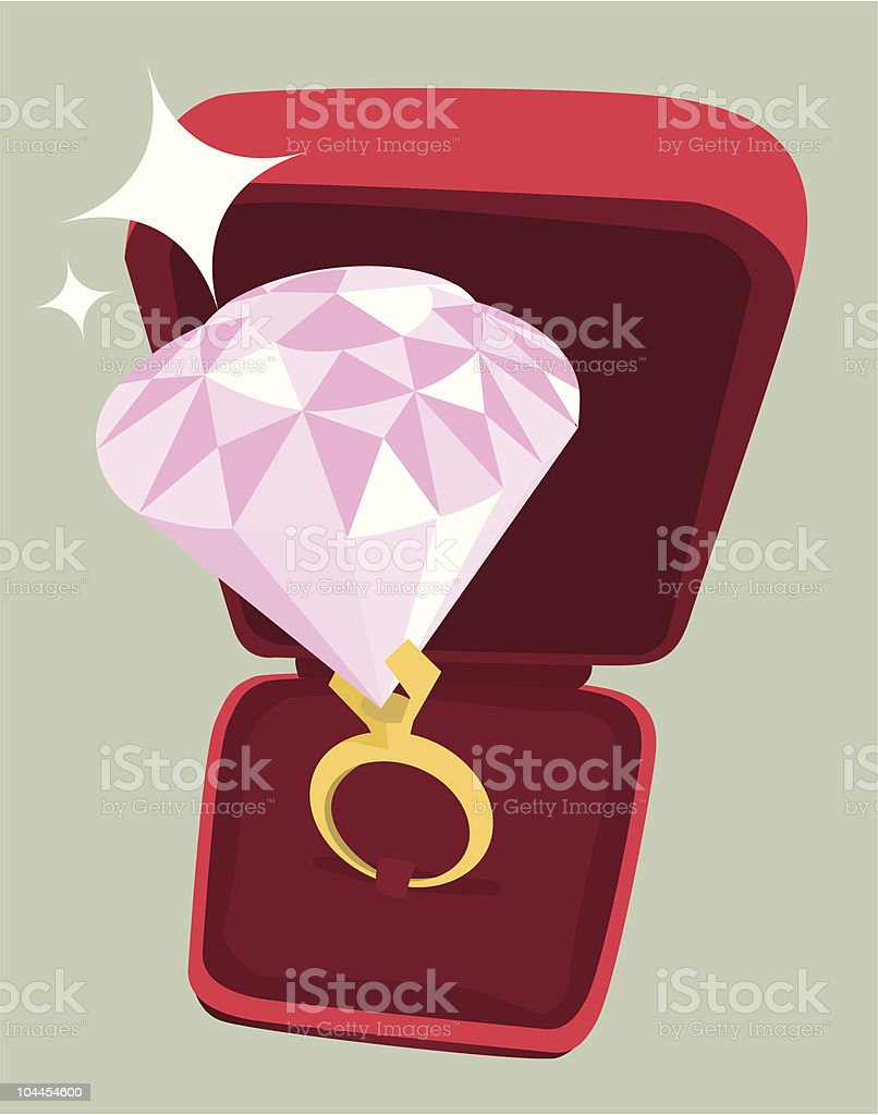Large pink diamond ring in red box royalty-free stock vector art