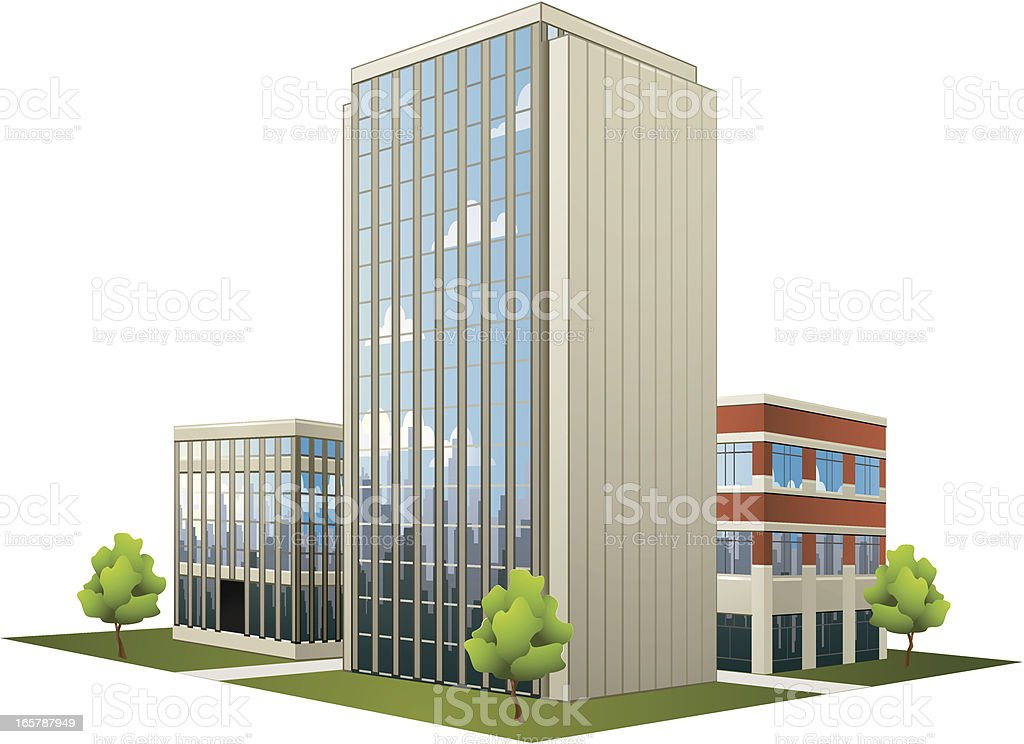 Large plan of modern office buildings vector art illustration